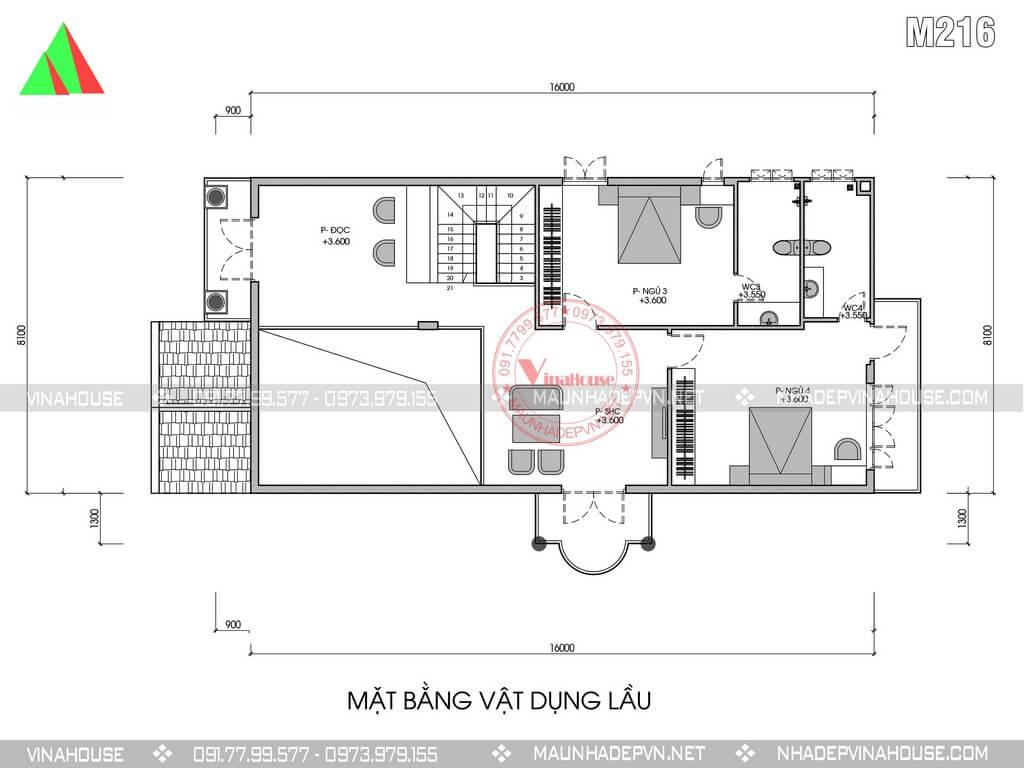 bản vẽ mặt bằng tầng lầu biệt thự 2 tầng 8x16