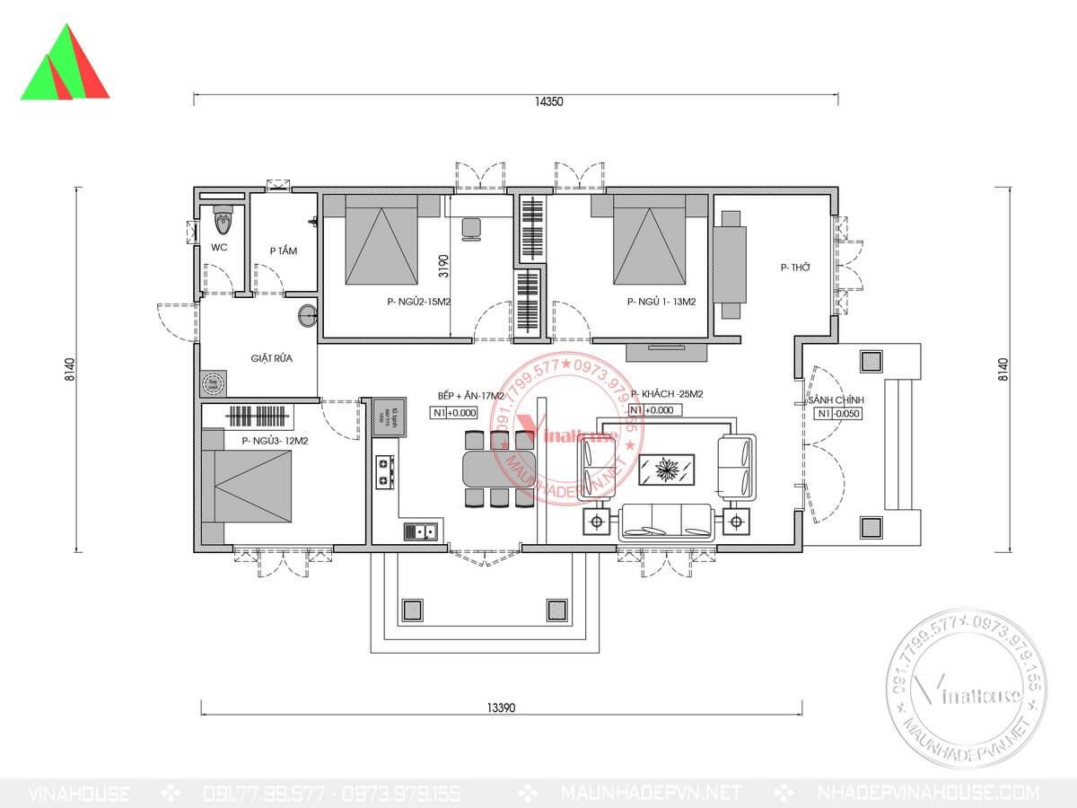 Bản vẽ mặt bằng bố trí nhà cấp 4 3 phòng ngủ 8×14