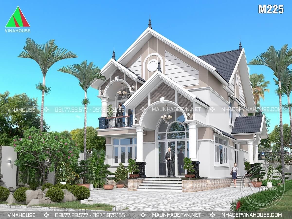 Phối cảnh 3D biệt thự lửng mái thái đẹp