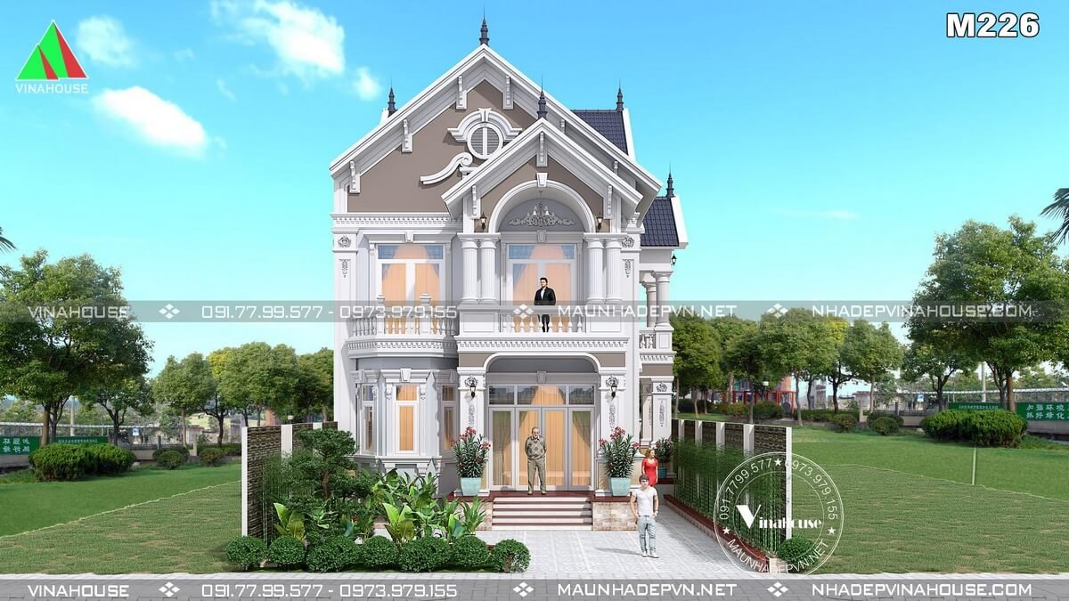 Mẫu nhà biệt thự 2 tầng đẹp M226