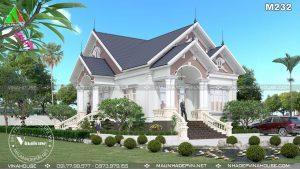 Biệt thự vườn 1 tầng mái thái tân cổ điển đẹp