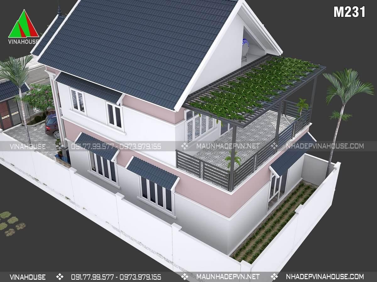 Thiết kế nhà 2 tầng 3 phòng ngủ M231