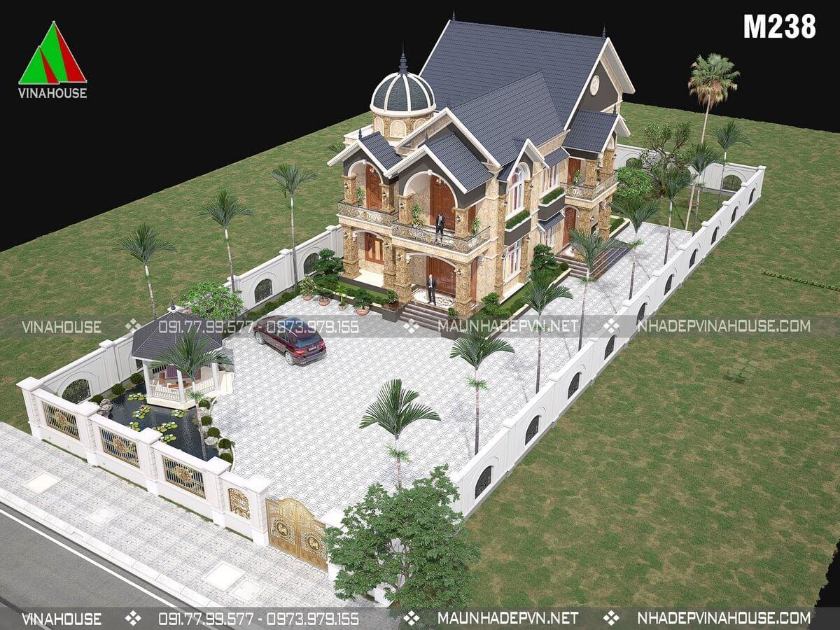 Thiết kế biệt thự vườn 2 tầng ở Tiền Giang M238