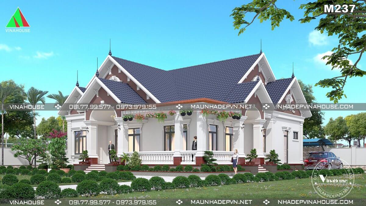 Mẫu biệt thự vườn 1 tầng mái thái anh Triều Bình Phước M237