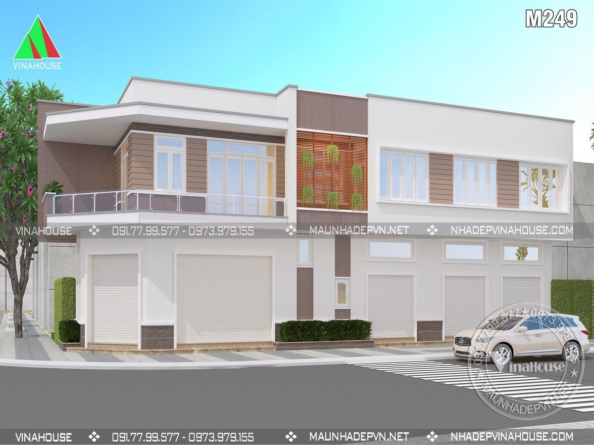 Thiết kế nhà phố 2 tầng 2 mặt tiền kết hợp kinh doanh M249