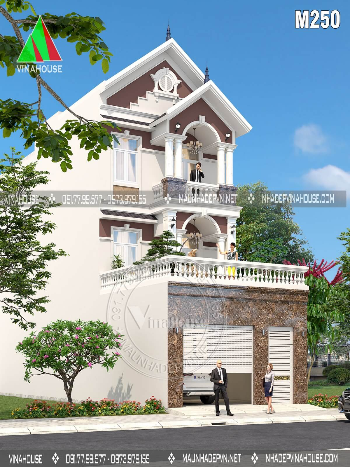 Thiết kế nhà phố 3 tầng mái thái