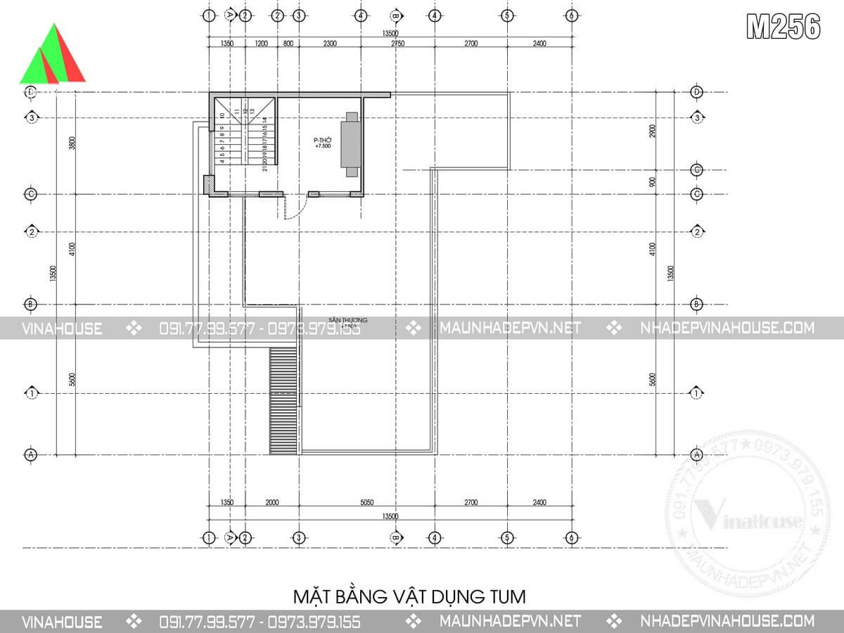 Mặt bằng tầng tum m256