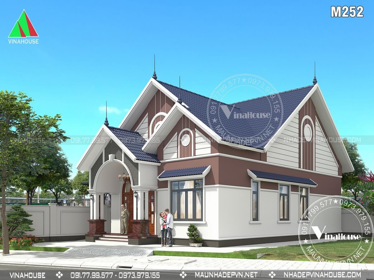 Thiết kế nhà cấp 4 mái thái hiện đại 3 phòng ngủ ở Quảng Nam M252