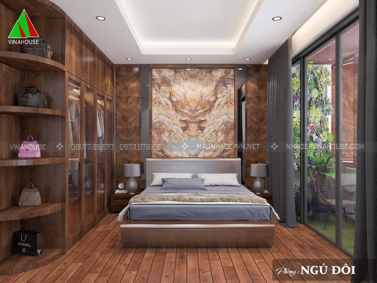 Phòng ngủ hiện đại gỗ óc chó