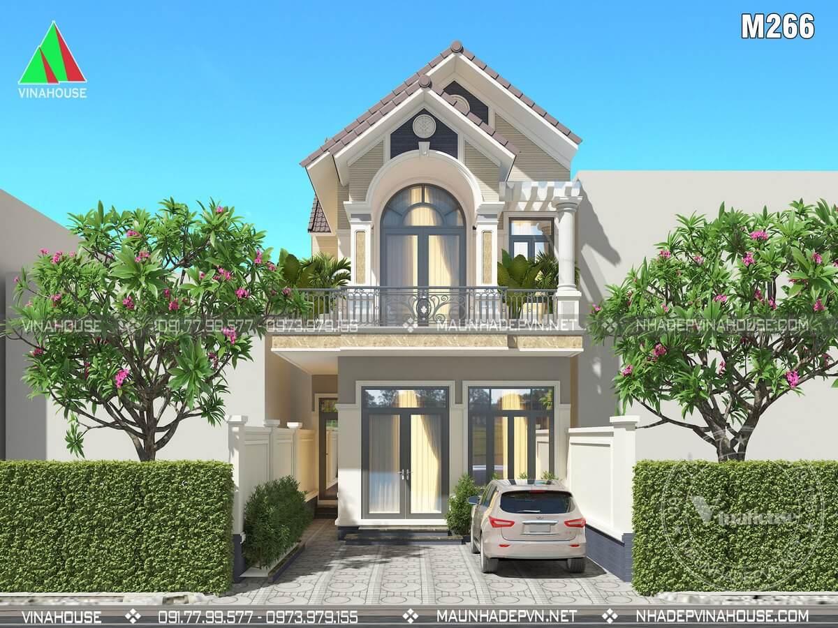 Thiết kế nhà 2 tầng chữ L mái thái M266