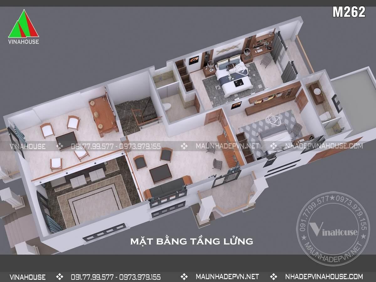 Thiết kế biệt thự 2 tầng mặt tiền 7,5m anh Dũng Đồng Nai M262