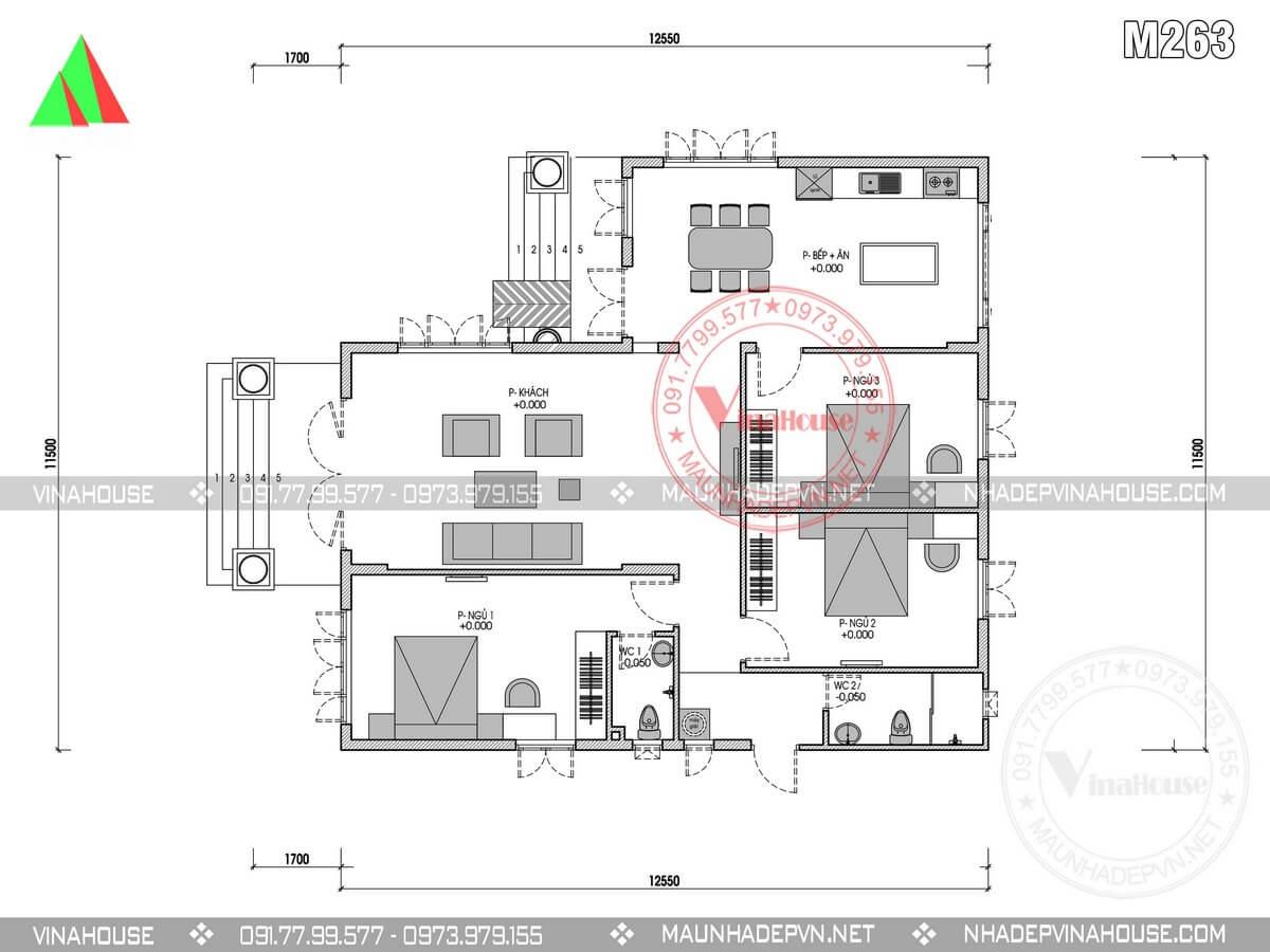 Mặt bằng nhà cấp 4 mái thái 3 phòng ngủ M263