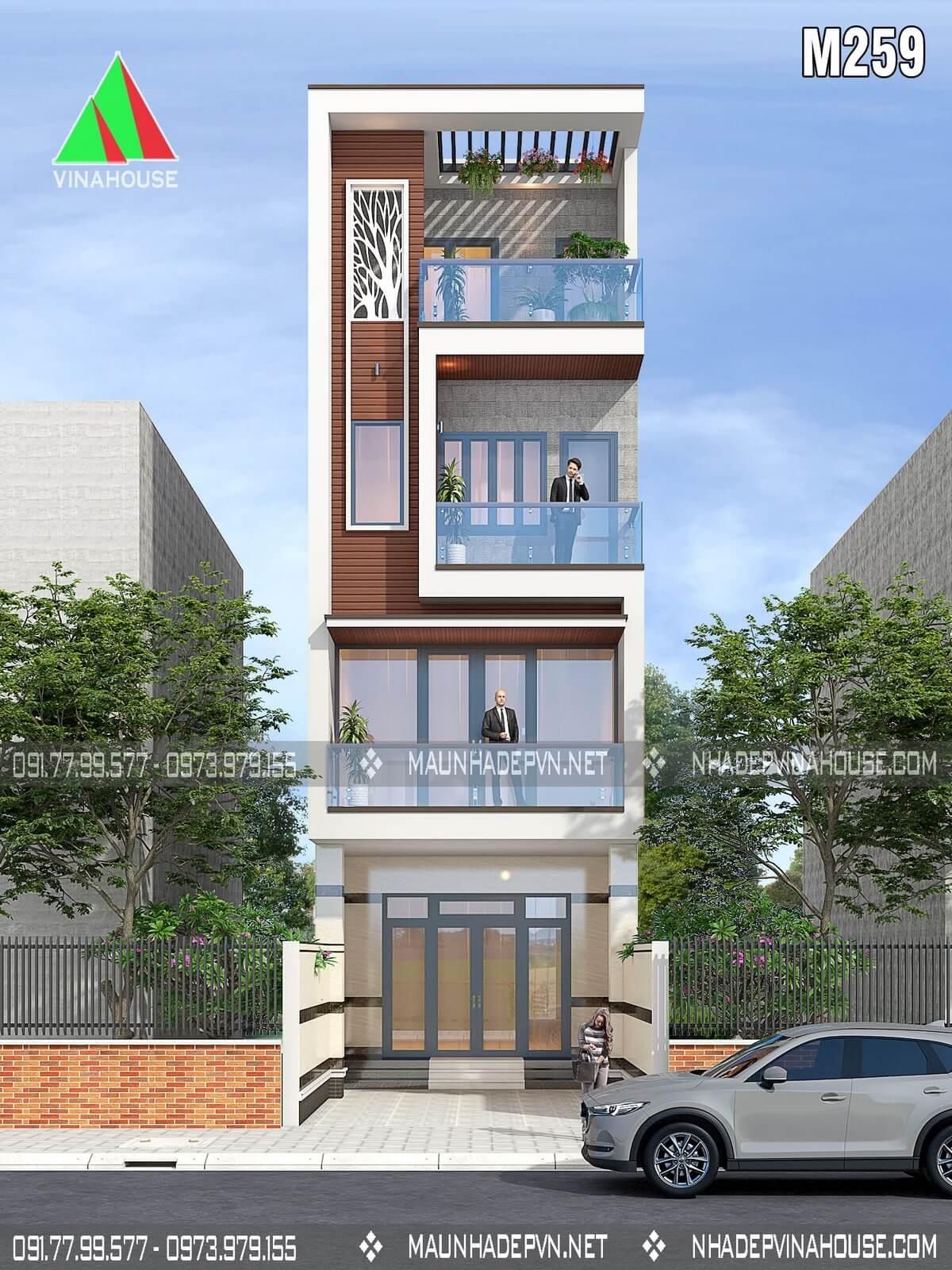 Thiết kế nhà phố hiện đại M259