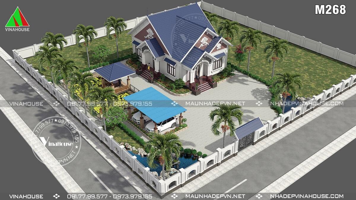 Thiết kế nhà vườn 1 tầng tân cổ điển