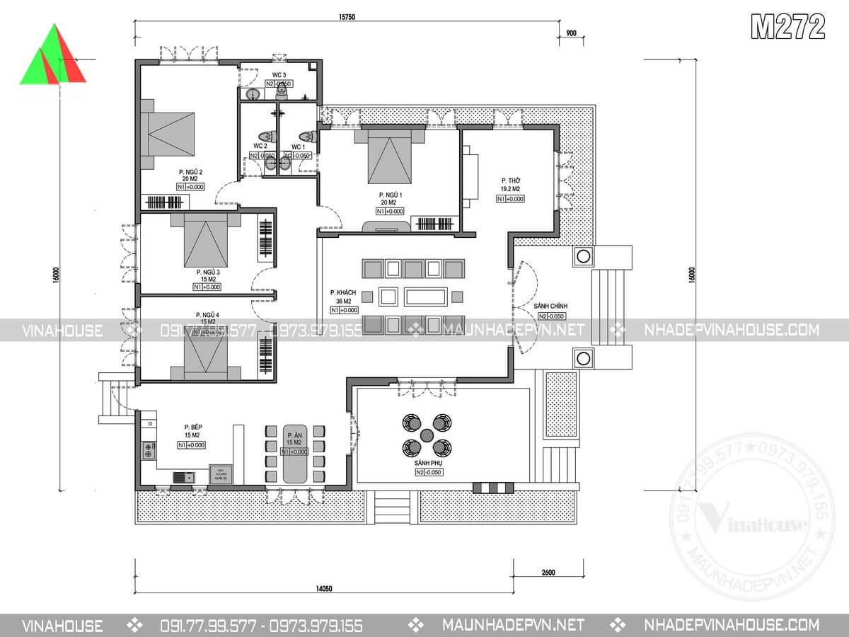 Mặt bằng nhà 1 tầng 4 phòng ngủ