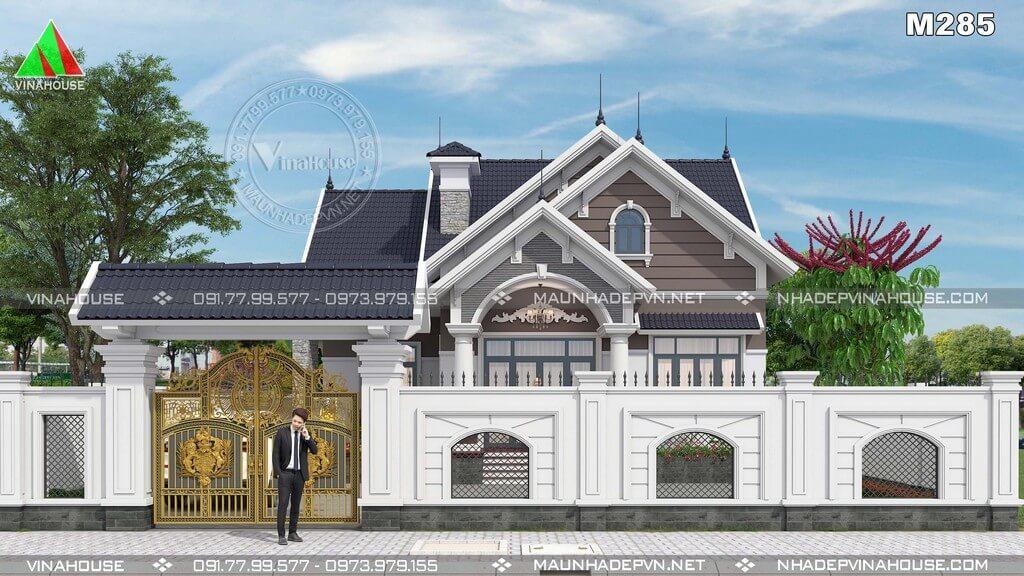 Biệt thự vườn 1 tầng mái thái tân cổ điển M285 - Vẻ đẹp vượt thời gian