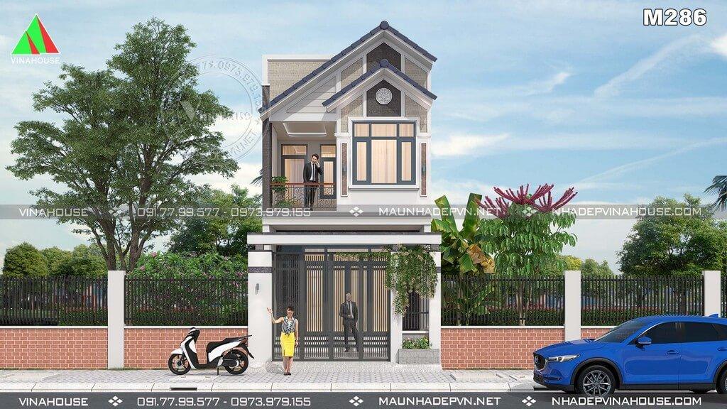 Thiết kế nhà phố 2 tầng đẹp hiện đại