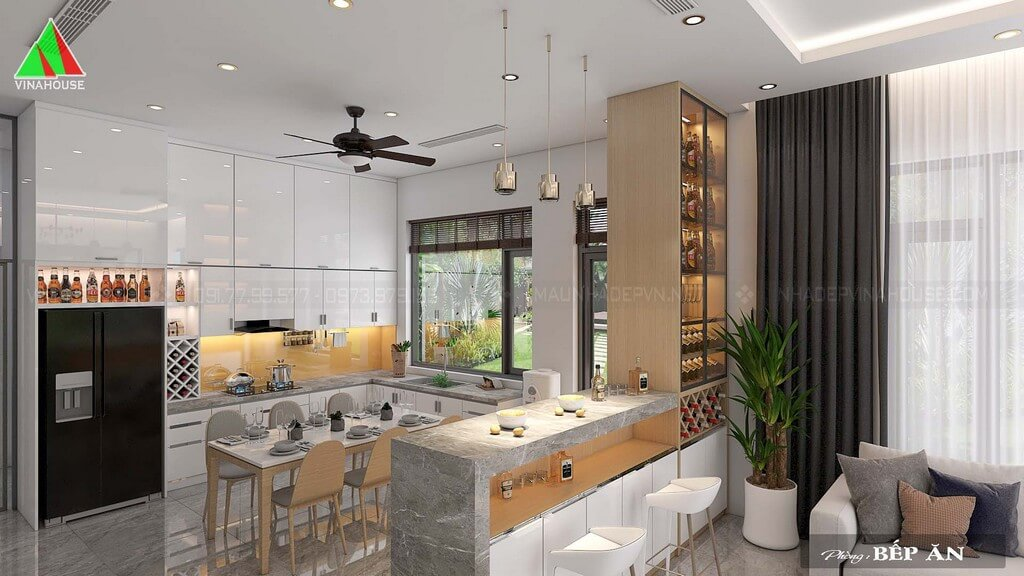 Vách ngăn phòng khách với phòng bếp